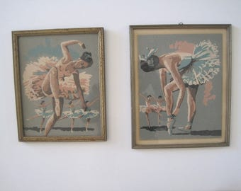 Vintage Ballerina Paint by Number, 2 Paintings, Ballet, Tutu, Dance, Ballet Shoes