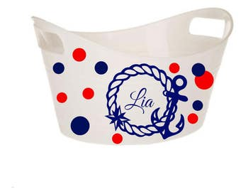 Nautical Bin, Anchor Designed, Monogram Easter Basket, Oval Storage Container