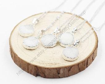 SALE Round White Druzy Necklace Handmade Drusy Geode Necklace wedding dainty party birthday jewelry druzzy YHA-151