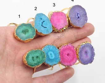 SALE Open Druzy Bangles -- With Electroplated Gold Edge Wholesale Drusy Geode Bracelet Bridesmaid Bangle jewelry supplies YHA-123
