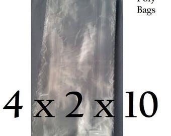 4 x 2 x 10 1mil Clear Poly Gusseted Bags For Wedding Tag Birthday Bridal Baby Shower Graduation Sweet 16 Quinceanera Party Favors