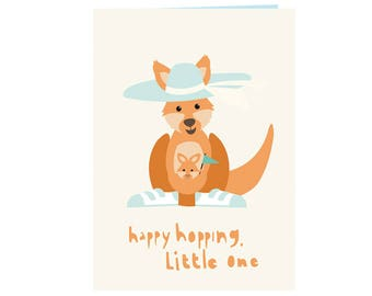 Cute babyshower card kangaroo and joey - Welcome little one - kangaroo joey - new born - new baby card - bright and warm - boys and girls