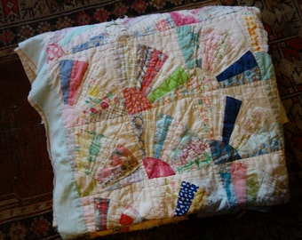 Antique quilt calico cotton hand sewn handmade old well worn hand made heritage heirloom textile collectible art fan patchwork white patina