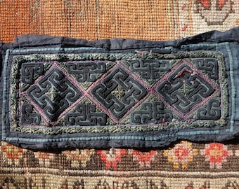 Antique Hill Tribe embroidery indigo handwoven