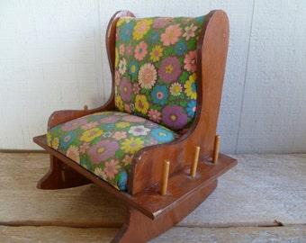 Rustic Wood Rocking Chair Pin Cushion