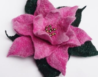 Soft Merino Wool Hand Felted Floral Pink Poinsettia Flower Merino Wool Flower Pin Brooch Christmas Valentines Mother's Day Present Gift