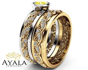 yellow diamond engagement ring unique 14k yellow gold bridal set rings 12 carat bezel - Yellow Diamond Wedding Rings