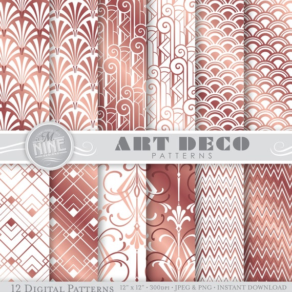 Rose Gold Art Deco Digital Paper / Rose Gold Art Deco Patterns