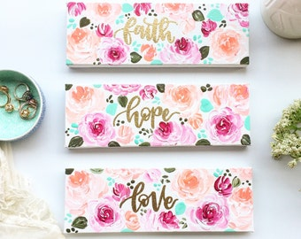 Christian Wall Art, Faith, Hope, Love, Floral Painting, Gift for Her, Painting, Gift Ideas, Birthday Gifts