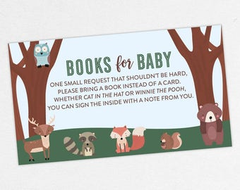 INSTANT DOWNLOAD Books for Baby Card, Baby Shower Books for Baby, Books for Baby PDF, Diy, Woodlands, Fox, Birch, Animals, Bear, Owl, Forest
