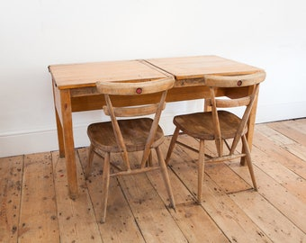 Vintage Double School Desk with Red Dot Ercol Chairs