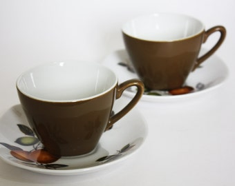 Two Midwinter Coffee Cups and Saucers, Stylecraft 'Oranges and Lemons' by John Russell