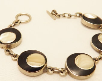 Onyx and Mother of Pearl Vintage Sterling Silver Bracelet