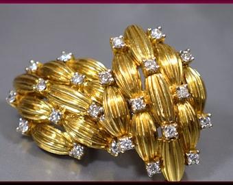 Vintage 18K Yellow Gold and Diamond Earrings - EA 503S