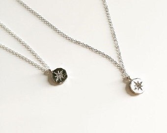 Star Charm Necklace Silver Pyrite