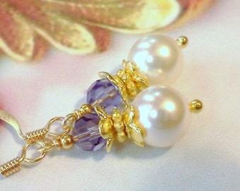 Swarovski Crystal Earrings, Swarovski Crystal Pearl Earrings, Amethyst Swarovski Earrings, Handmade Earrings, Purple and Pearls Earrings