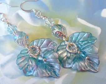 Lucite Earrings, Hand Painted Earrings, Leaf Earrings, Leaf Dangles, Sky Blue Leaf Earrings, Lavender and Blue, Cottage Chic Earrings, Boho