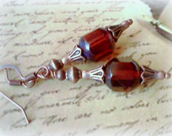 Cathedral Bead Earrings, Dark Amber Earrings, Handmade Earrings, Burnt Orange Earrings, Dark Rust Earrings, Vintage Style, Copper and Amber