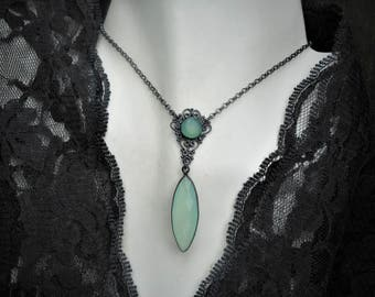 Chalcedony necklace,aqua chalcedony necklace,chalcedony jewelry,blue necklace,aqua chalcedony necklaces,victorian necklace,oxidized necklace