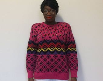 Hot Pink 80's Leopard Print Sweater with Shoulder Pads