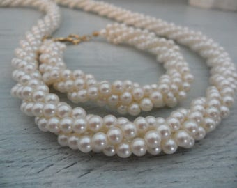 Vintage Napier Jewelry Set Twisted Pearl Necklace Bracelet Set Something Old Multistrand Pearl Necklace Ivory Pearl Bracelet Ivory Pearls