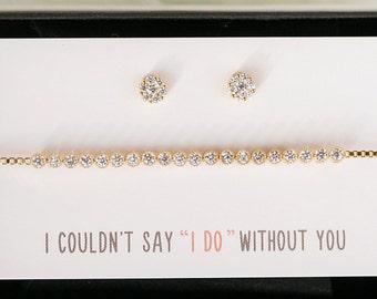 Bridesmaid Bracelet Earring Set Bridesmaid Gift Jewelry Set Gold Bracelet Earrings Set Bridesmaid Jewelry Set Bridal Party Gift   B167-E249G