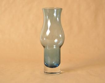 Blue Scandinavian glass vase - attributed to Aseda Sweden - Mid Century Modern