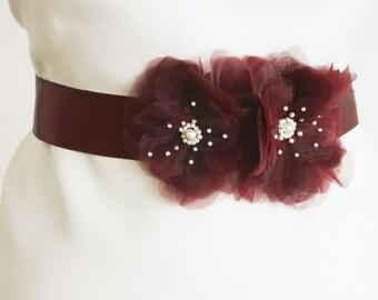 Marsala Flower Bridal Sash, Marsala Wedding, Burgundy Bridal Sash, Floral Sash, Formal Dress Sash, Bordeaux, Burgundy, Dark red bridal belt