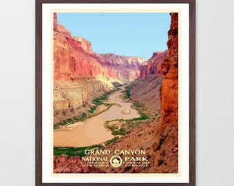 Grand Canyon National Park - Grand Canyon National Park Poster - National Park Art - WPA - WPA Poster  WPA Art - Grand Canyon Poster