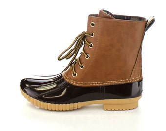 Brown Embroidered Duck Boots