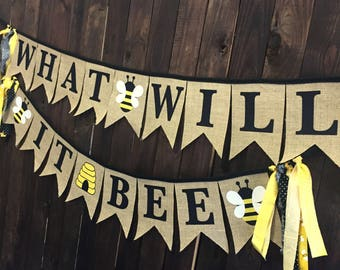 What Will It Bee Honey Bumble Gender Reveal Party Decorations Baby Shower Pennant Bunting Burlap