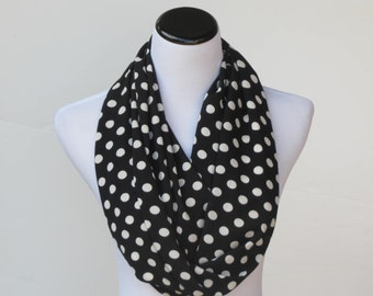 Black and white ivory polka dots infinity scarf, circle scarf, LONG scarf, classic loop scarf - gift idea for women and teenage girls