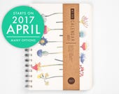 2017 Planner with a high quality paper! Floral flower A5 Diary! Weekly daily Calendar Calendario Kalender Agenda Journal March April Undated