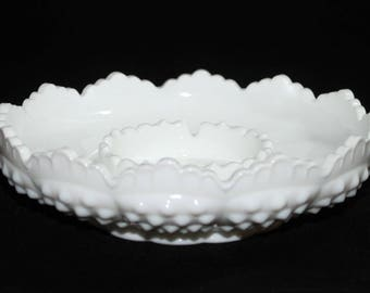 Fenton White Milk Glass Hobnail Chip and Dip Footed Bowl, Candle Holder, Ashtray with Scalloped Rim/Edge