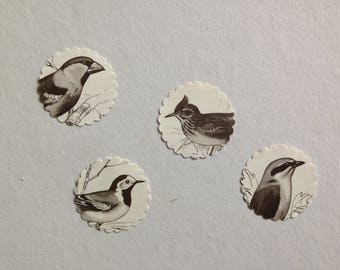 11 upcycling vintage sticker scraps embellishments with black and white birds