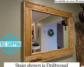 free shipping herringbone reclaimed wood mirror by lane of lenore in 20 colors large - Reclaimed Wood Mirror