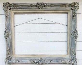 Antique Wood Frame, Living Room Decor, Large Hand Painted Frame, Wedding  Program,