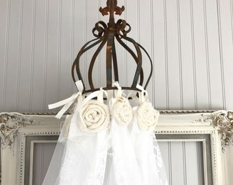 Hanging Bed Canopy Princess Girls Bedroom Nursery Crib Tent Lace Burlap Shabby Chic Backdrop for Metal Crown