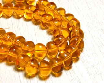 25 Topaz Glass Beads, Topaz Nugget Beads, Yellow Beads, Topaz  Beads, 8mm Yellow Beads, Nugget Beads, Dark Yellow Beads, T-35C