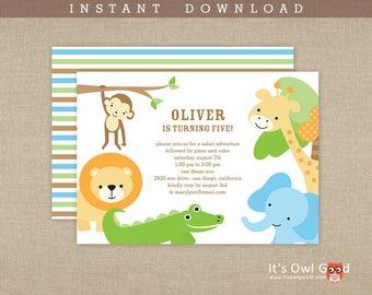 JUNGLE SAFARI Birthday or Baby Shower Printable Invitation - Instant Download
