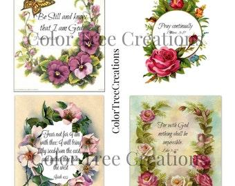 Digital download,INSTANT download, printable, Floral scripture cards, journal cards