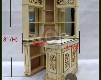 Miniature 1:12 Scale Wooden Corner Bar For Doll House [Unfinished]