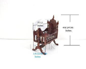 """1:12 Scale Miniature The """"Berit"""" Swinging Cradle For Doll House [Finished in walnut]"""