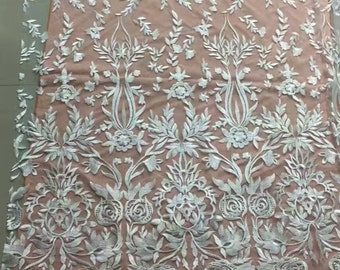 5yards Baroque lace fabric,white lace fabric,Embroidery lace fabric-9188