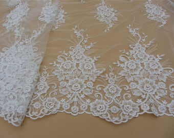 Corded Lace Fabric,off white wedding lace fabric,Wedding lace