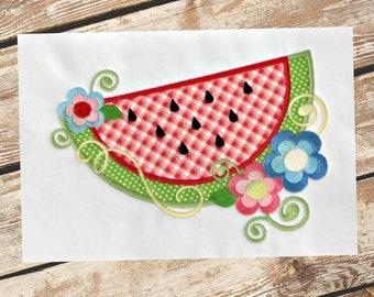 Watermelon Applique Design, Summer Applique Design, Machine Applique, Machine Embroidery Pattern, Digital Download