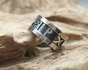 viking ring, silver ring, viking / old Norwegian Runes, gift for him/her, lucky Runes, Viking charm ring,Vikings jewellery, handmade jewelry