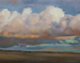 Prairie •  clouds •  western •  sky • oil painting •  original art •  Pamela Poll