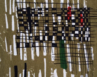 Mid Century LUCIENNE DAY QUARTO  Heals Vintage 1960's Fabric Green Black textile Abstract Art Britain Furnishing Eames Mahler