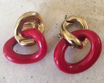 Vintage Dramatic Givenchy Red Lucite Clip Earrings.